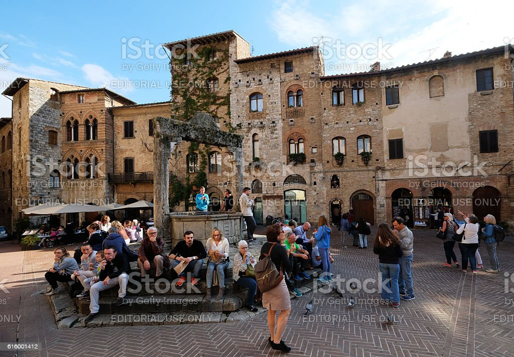 Lunch Time in San Gimignano stock photo