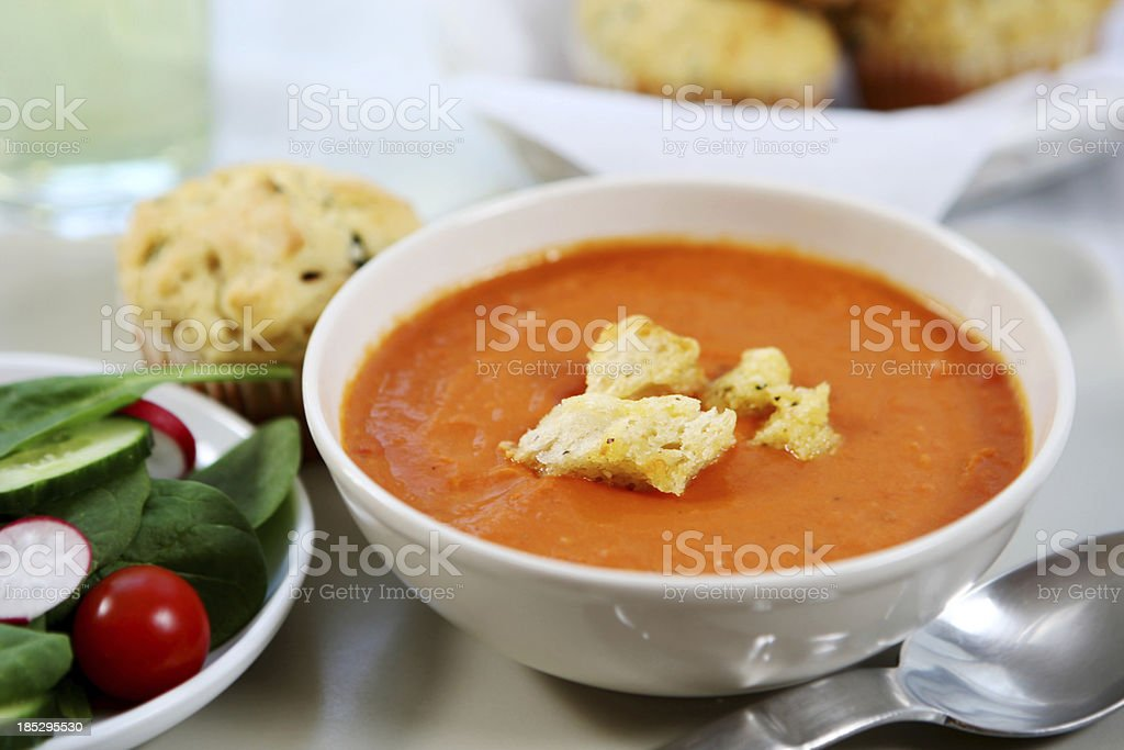 lunch - tomato soup,savory  muffin, salad royalty-free stock photo