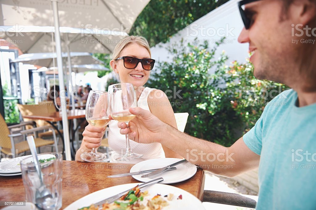 lunch wine in cafe stock photo