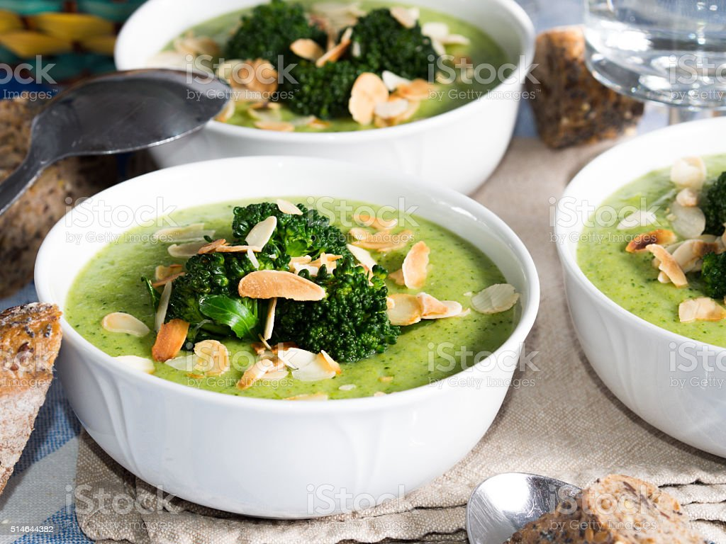 Lunch with broccoli soup stock photo