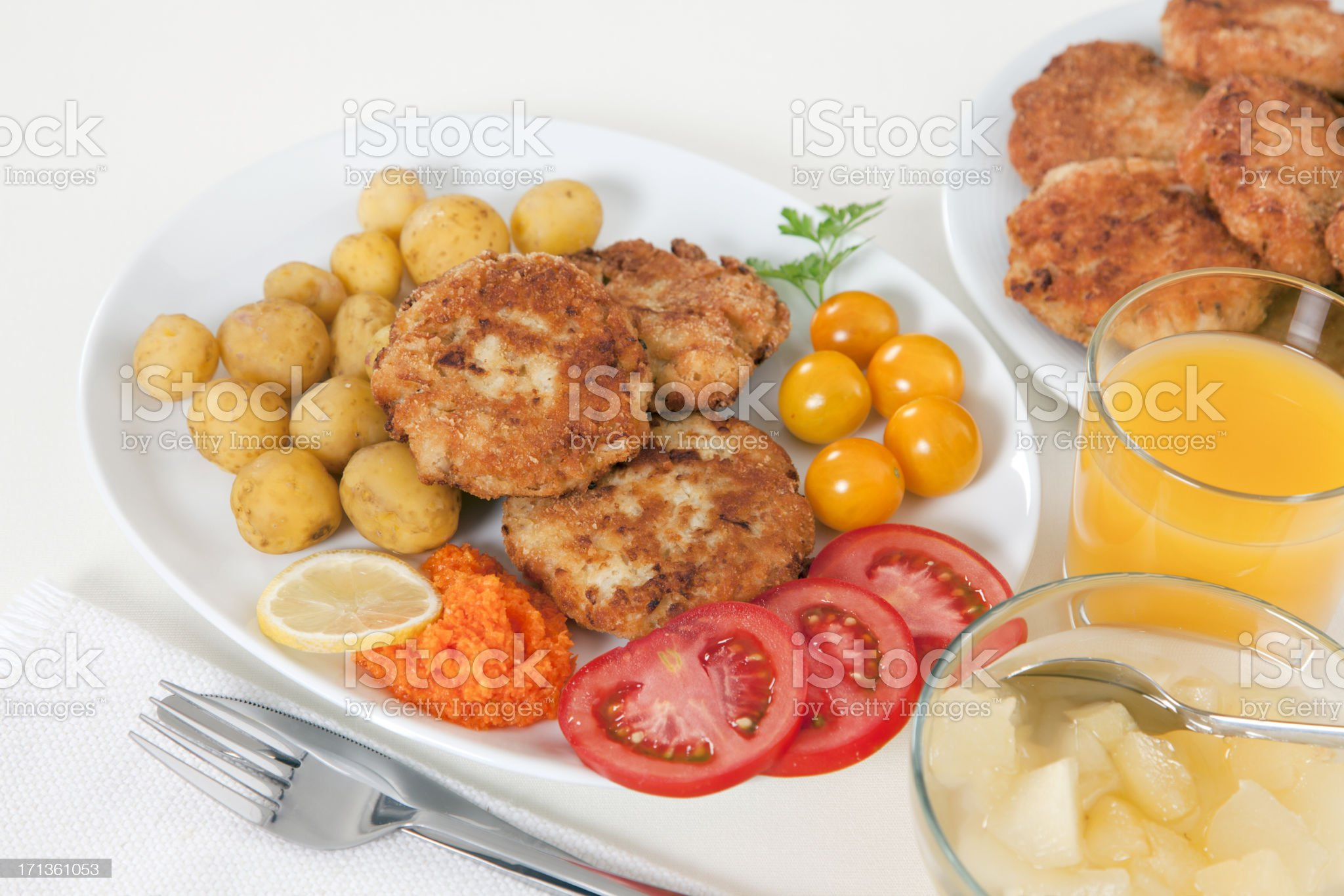 Lunch with burgers from cauliflower royalty-free stock photo