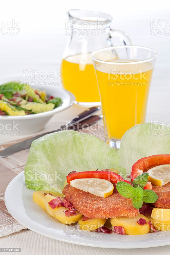 Lunch with fried Bavarian meatloaf stock photo