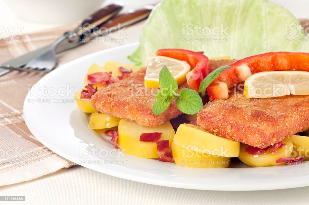 Lunch with fried Bavarian meatloaf royalty-free stock photo