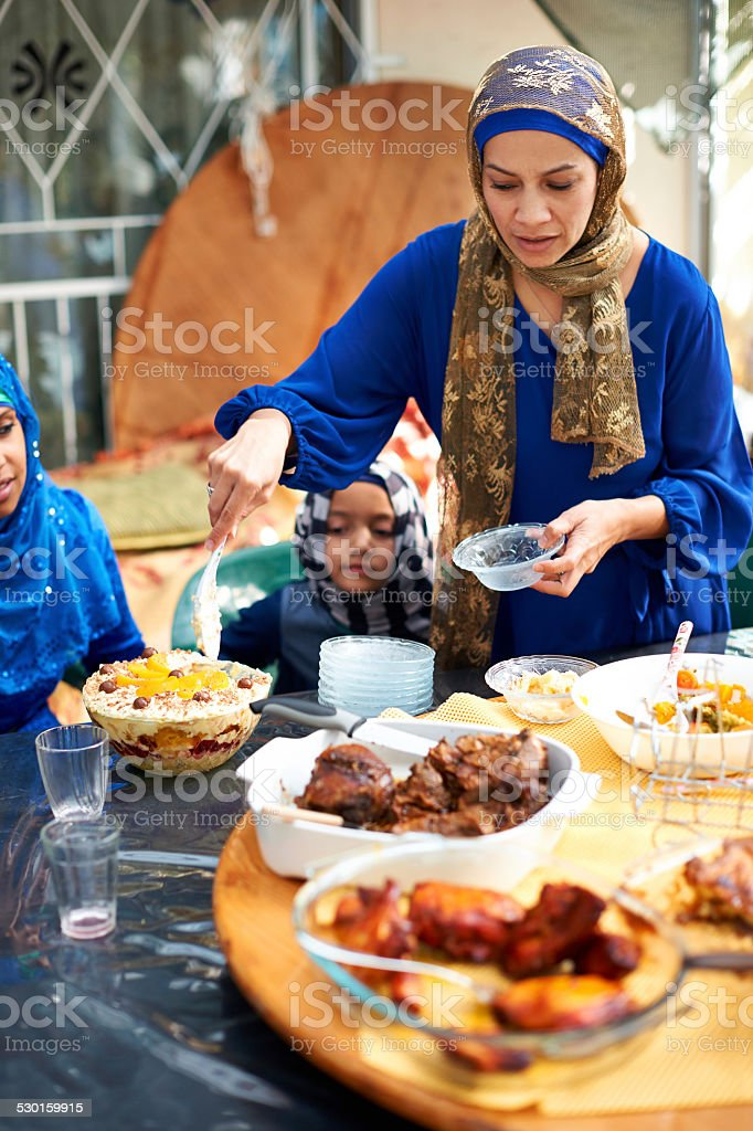 Lunch with her loved ones stock photo