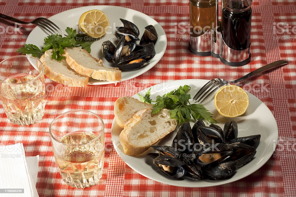 Lunch with Mussels royalty-free stock photo