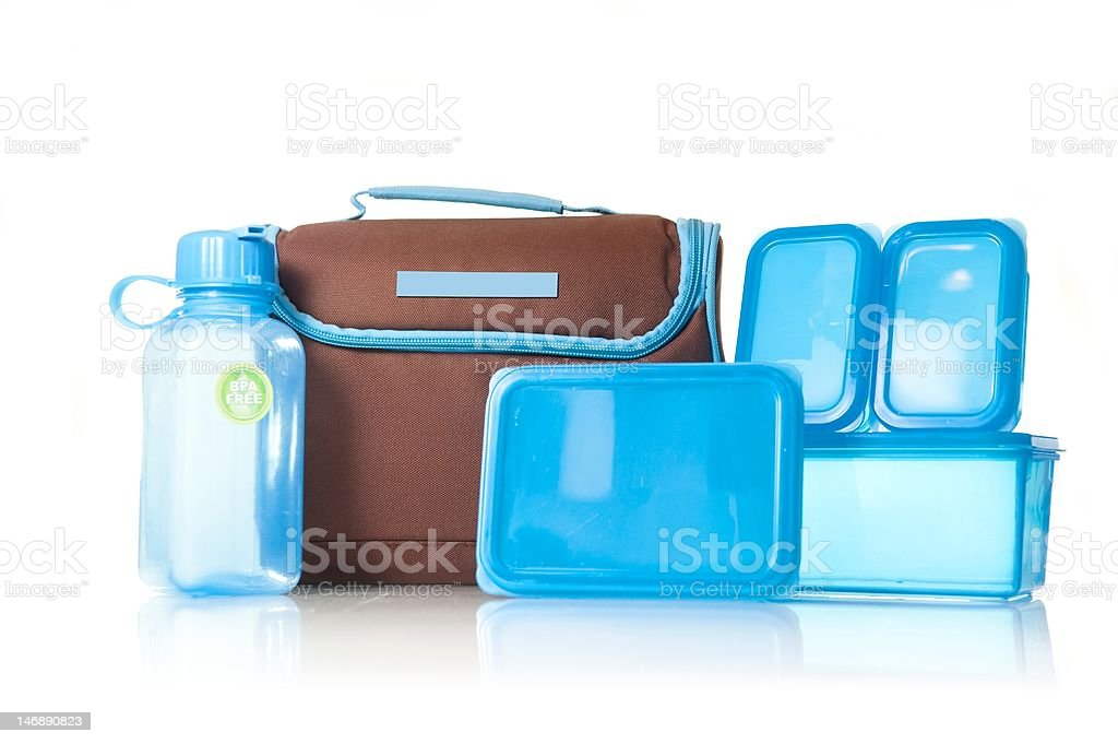Lunchbox and Tupperware on White Space stock photo