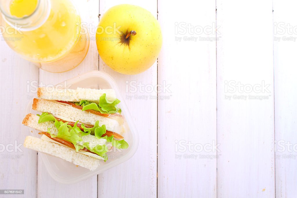 lunchbox with a sandwich, an apple stock photo