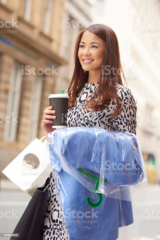 lunchtime dry cleaning pick up stock photo