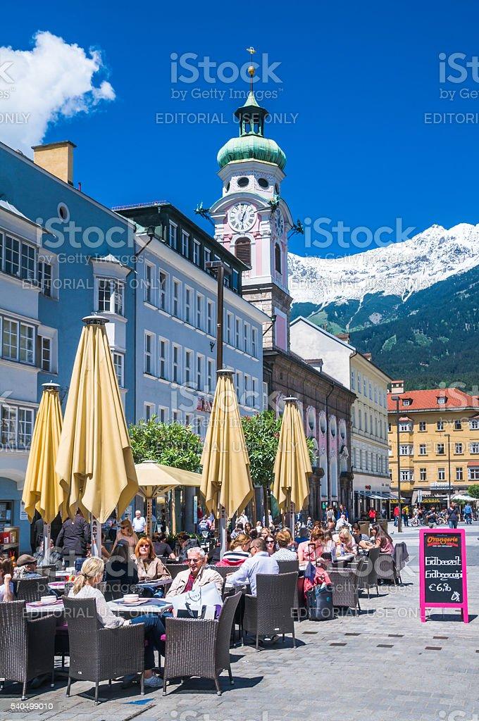 Lunchtime in Innsbruck stock photo