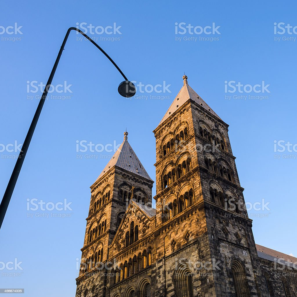 Lund Cathedral at sunset royalty-free stock photo
