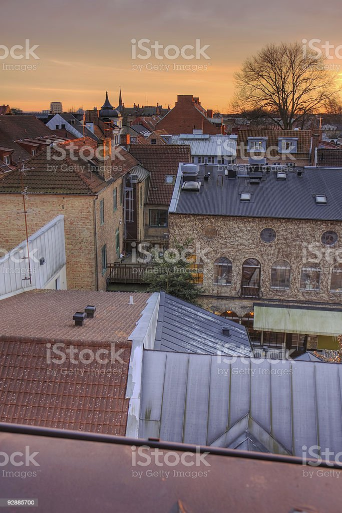 Lund roofs stock photo