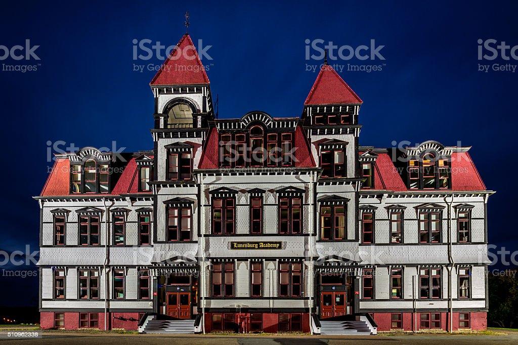 Lunenburg Academy Nova Scotia by Night Canada stock photo
