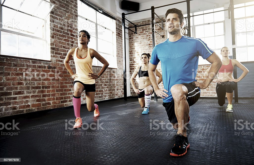 Lunge for a healthy life stock photo