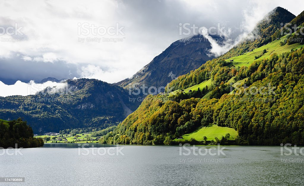 Lungerner See - Lake Lungern segment stock photo