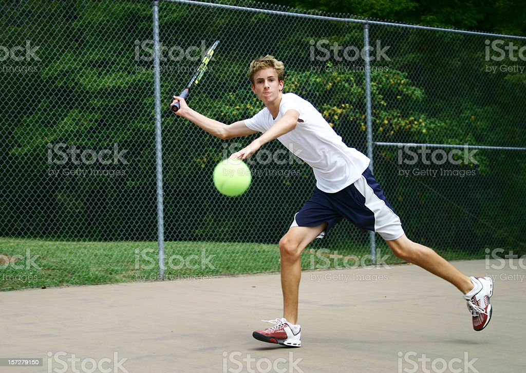 Lunging for the ball royalty-free stock photo
