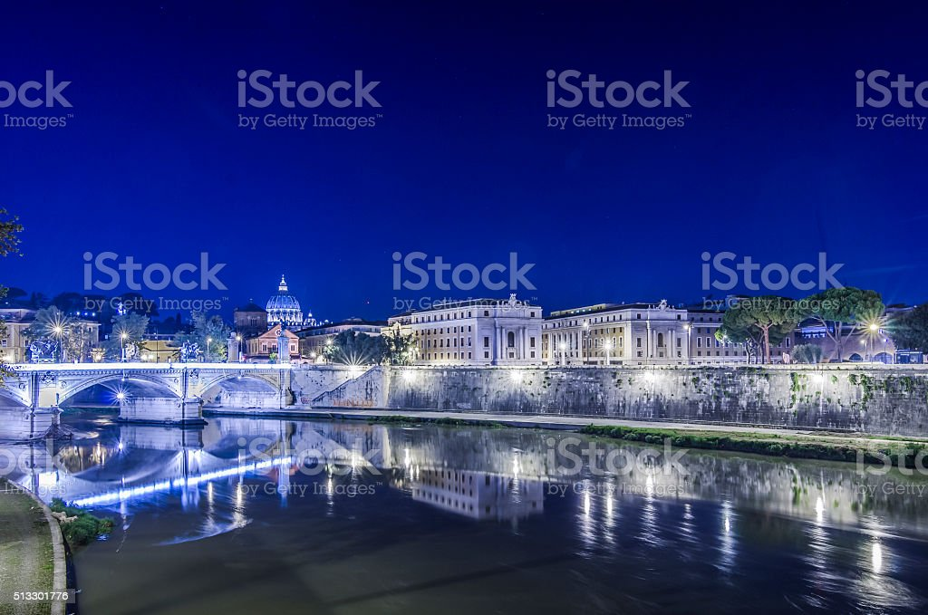 Lungotevere in the Night stock photo
