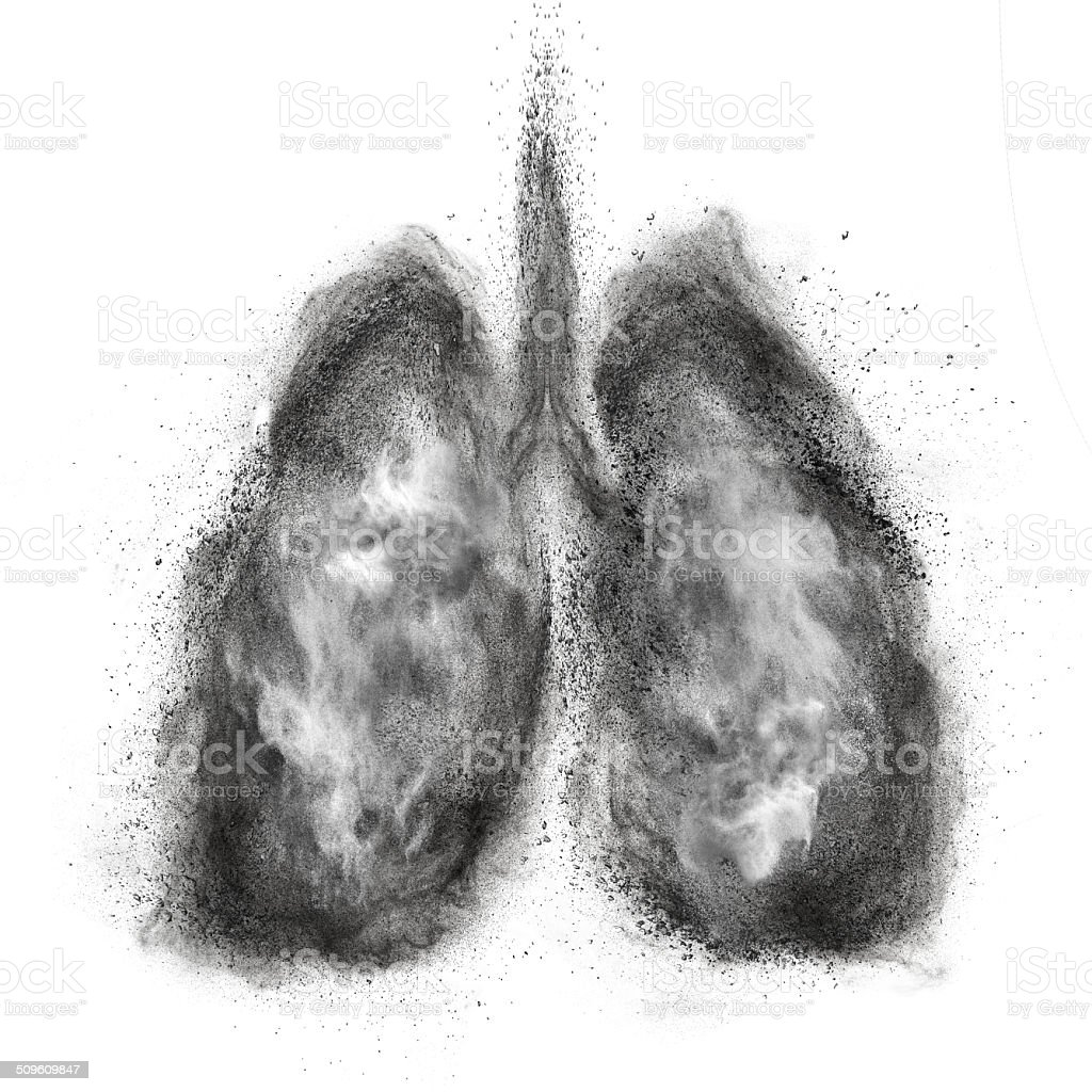 Lungs made of black powder explosion isolated on white stock photo