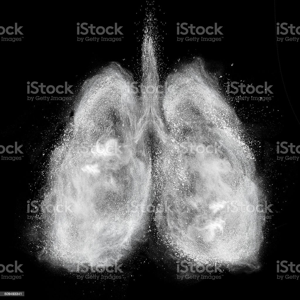 Lungs made of white powder explosion isolated on black stock photo