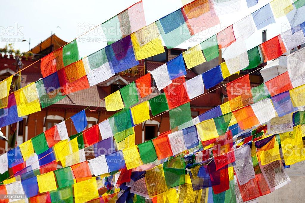 lungta Tibetan prayer flags stock photo