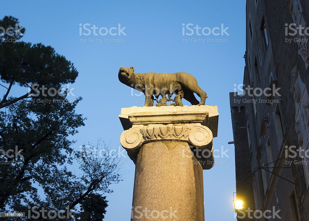 Lupa Capitolina at dusk - symbol of Rome city, Italy stock photo