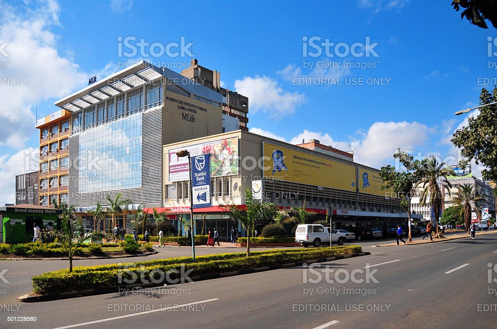 Lusaka, Zambia: downtown - the main avenue stock photo