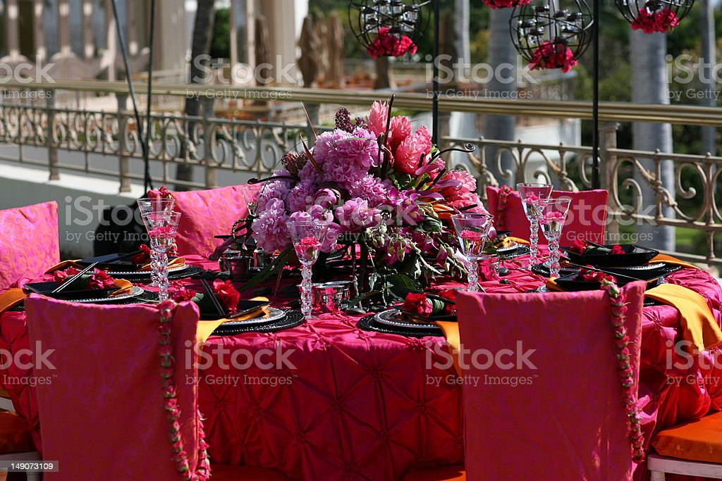 Luscious Pink Dining Table stock photo