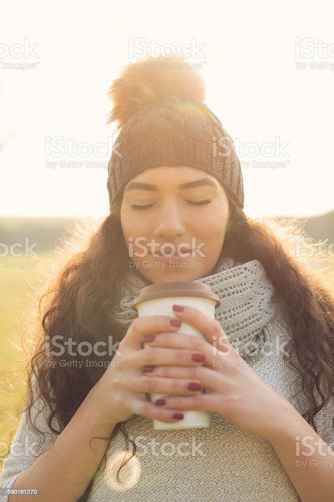 Luscious smell of coffee stock photo