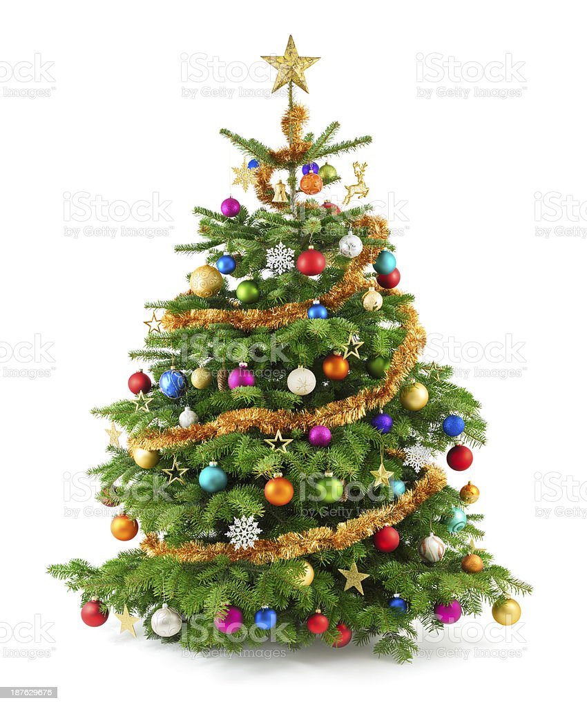 Lush christmas tree with colorful ornaments stock photo