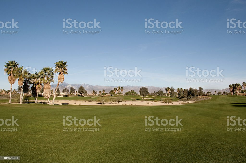 Lush green golf course in the Palm Springs desert royalty-free stock photo