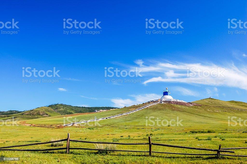 Lush hills near Amarbayasgalant Monastery, central Mongolia stock photo
