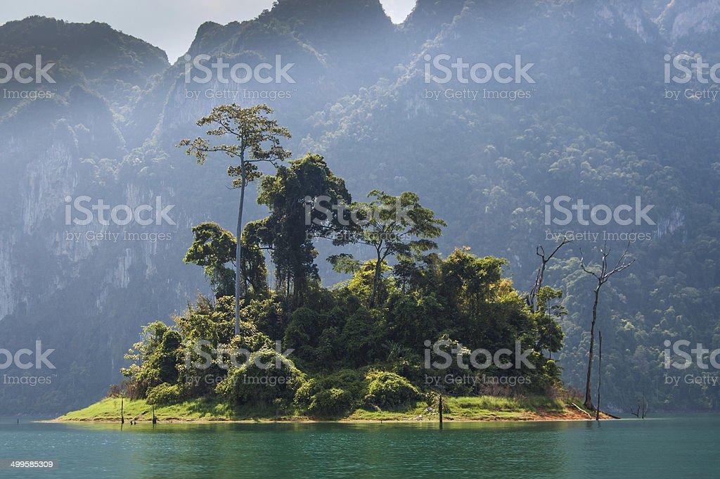 Lush island, Khao Sok National Park stock photo