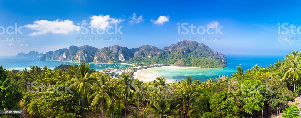 Lush tropical island: Phi-Phi Don, Thailand. stock photo