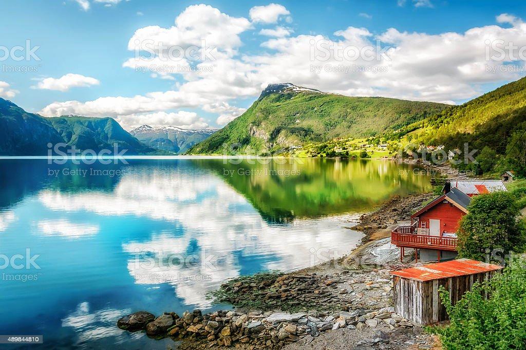 Lustrafjorden - the innermost arm of Sognefjorden stock photo