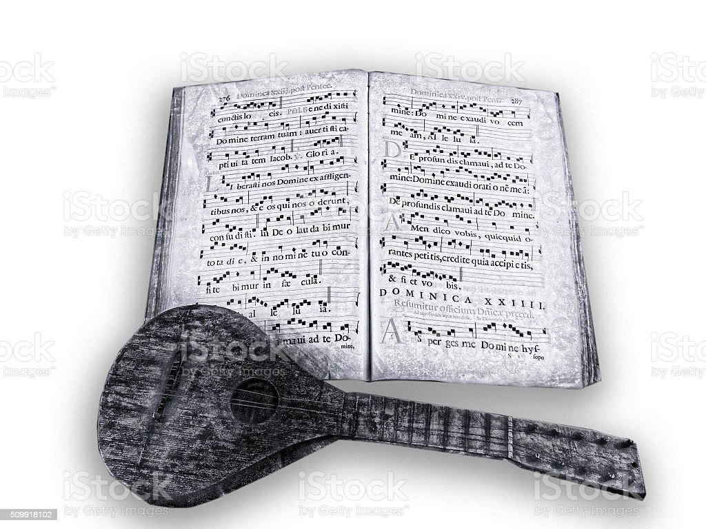 lute with music manuscript stock photo