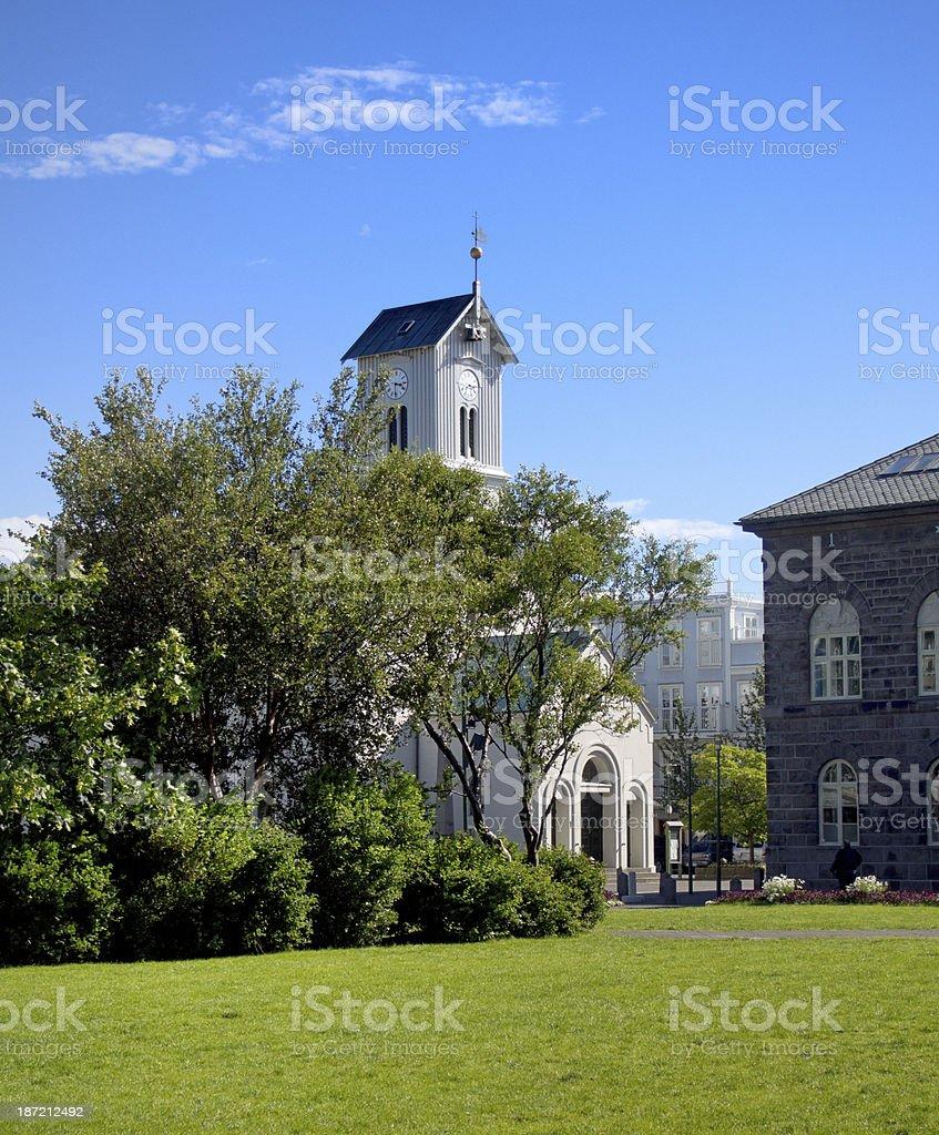 Lutheran Cathedral, Domkirkjan, in Reykjavik Iceland royalty-free stock photo