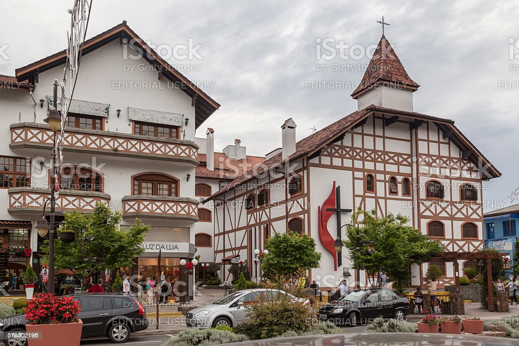 Lutheran Church Gramado Brazil stock photo