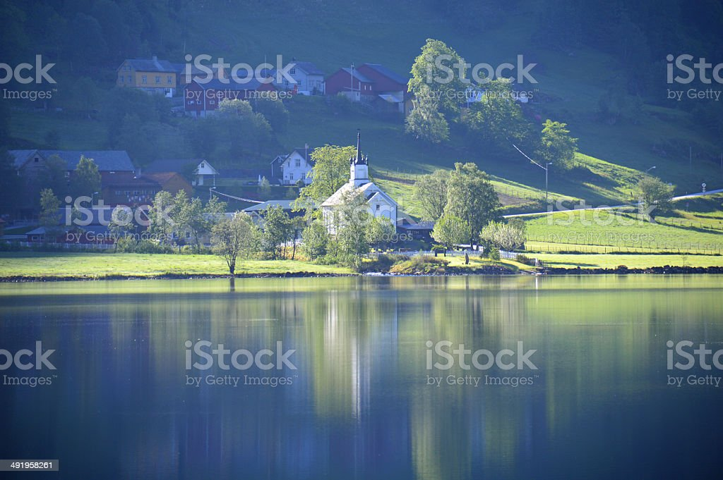 Lutheran Church in Holsen, Norway. stock photo