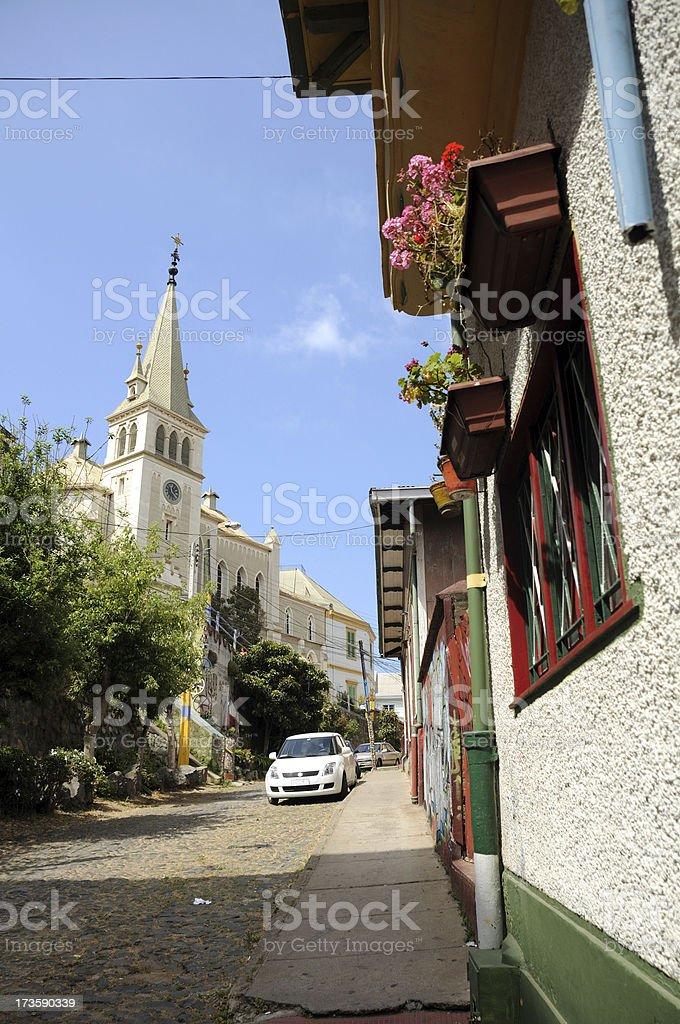 Lutheran Church in Valparaiso stock photo