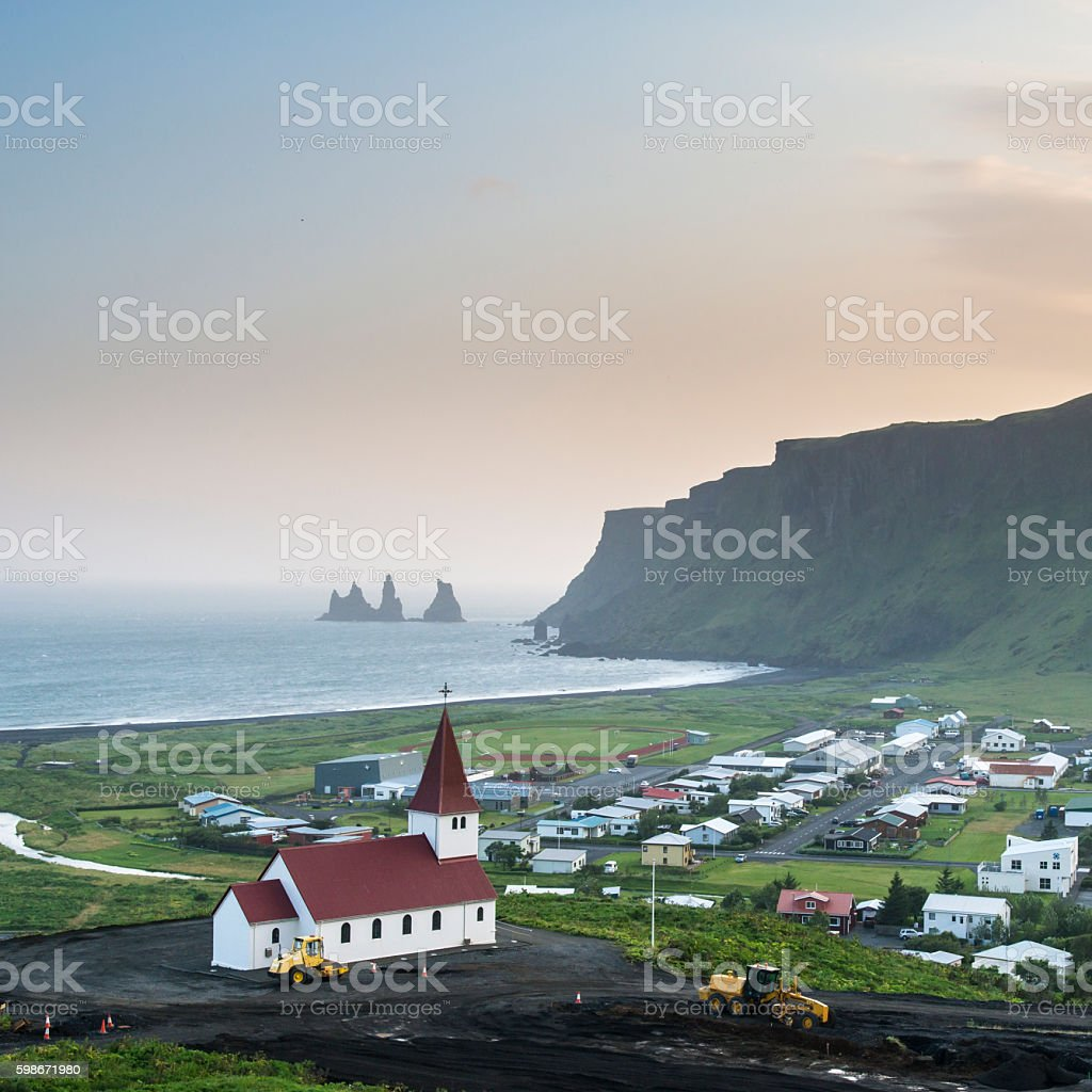 Lutheran church in Vik at sunset. Iceland. stock photo