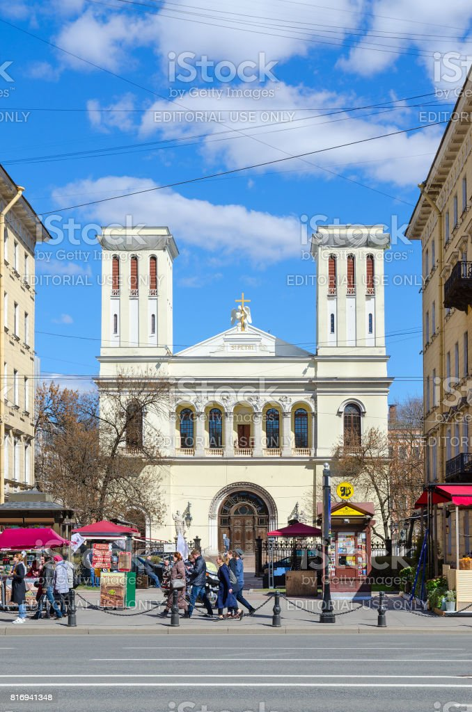 Lutheran Church of Saints Peter and Paul (Petrikirche), St. Petersburg, Russia stock photo