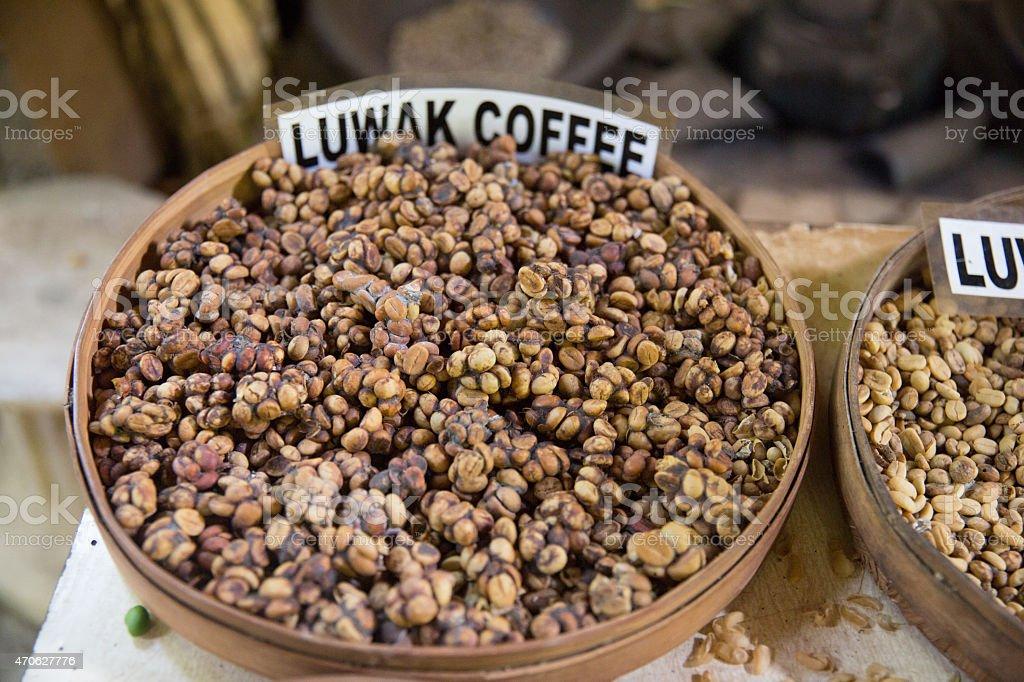 Luwack coffee beans for sale in Bali Indonesia stock photo