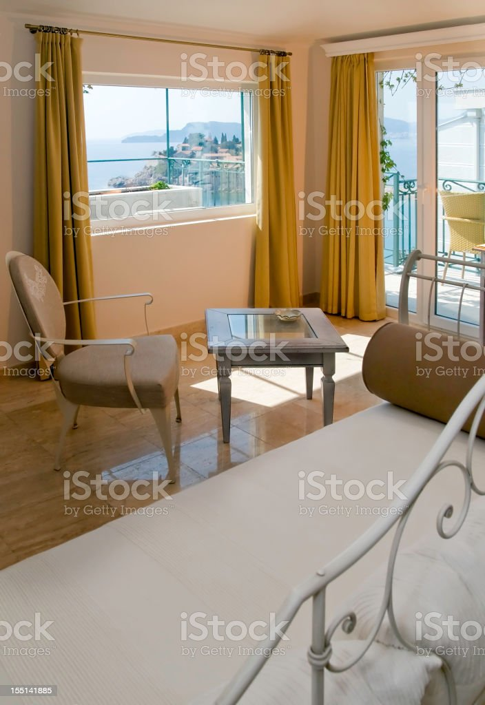 Lux hotel room with a view to the sea royalty-free stock photo