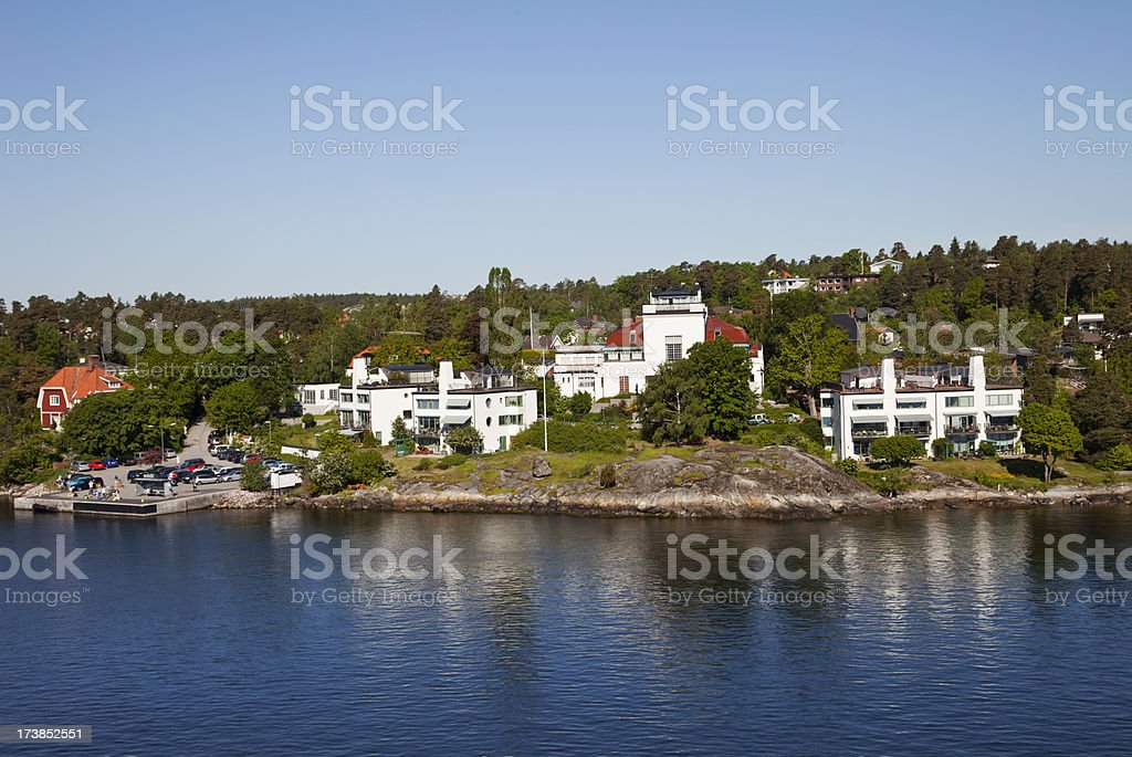 Luxary homes by the water. stock photo