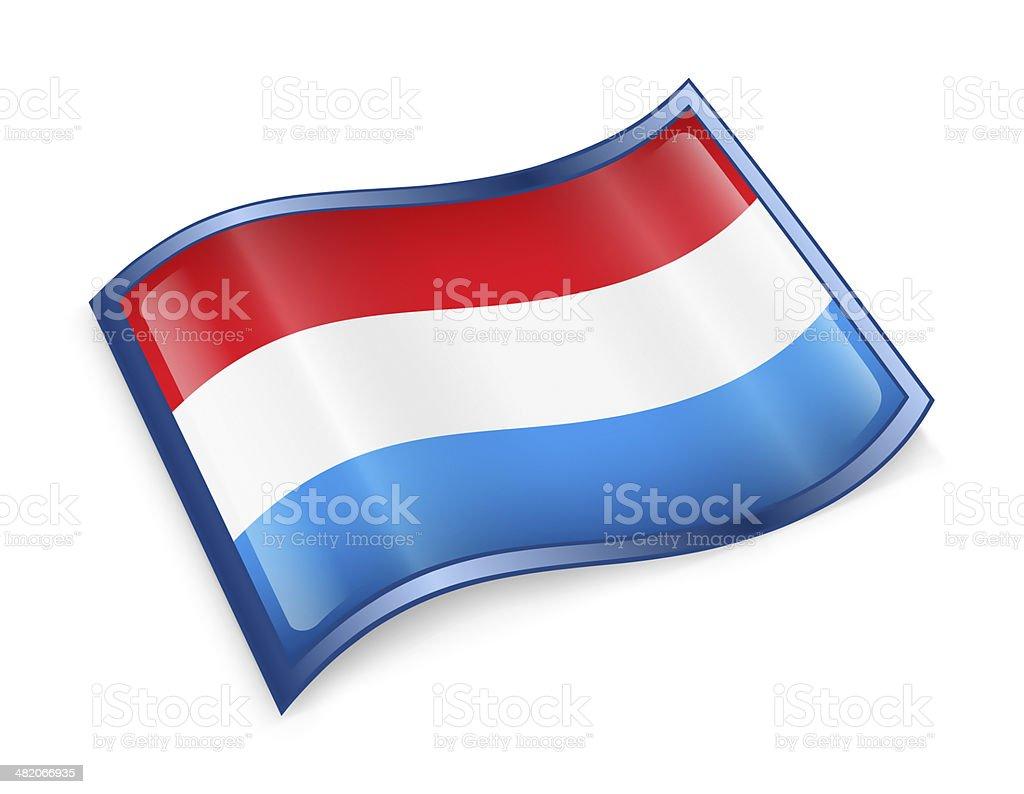 Luxemborg Flag Icon, isolated on white background. stock photo
