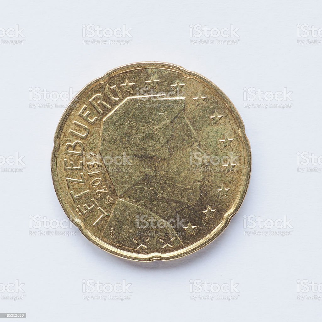 Luxembourg 20 cent coin stock photo