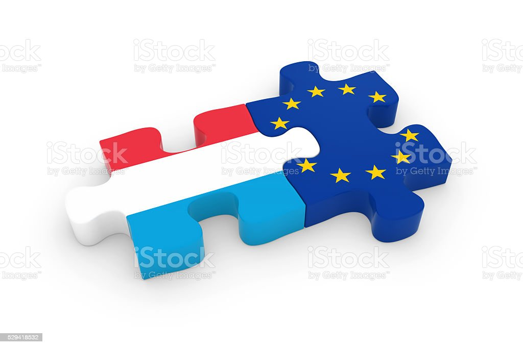 Luxembourg and EU Puzzle Pieces - Luxembourgian and European Flag stock photo
