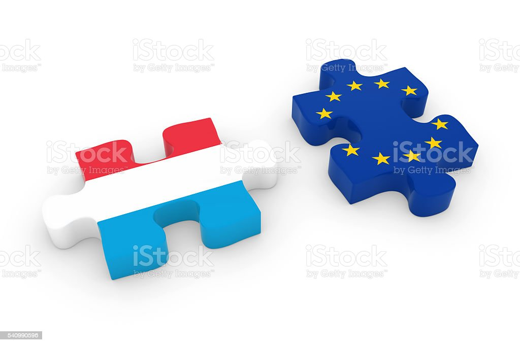 Luxembourg and EU Puzzle Pieces  Luxembourgian and European Flag Jigsaw stock photo