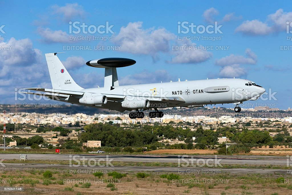 Luxembourg (NATO) AWACS departing after Airshow stock photo