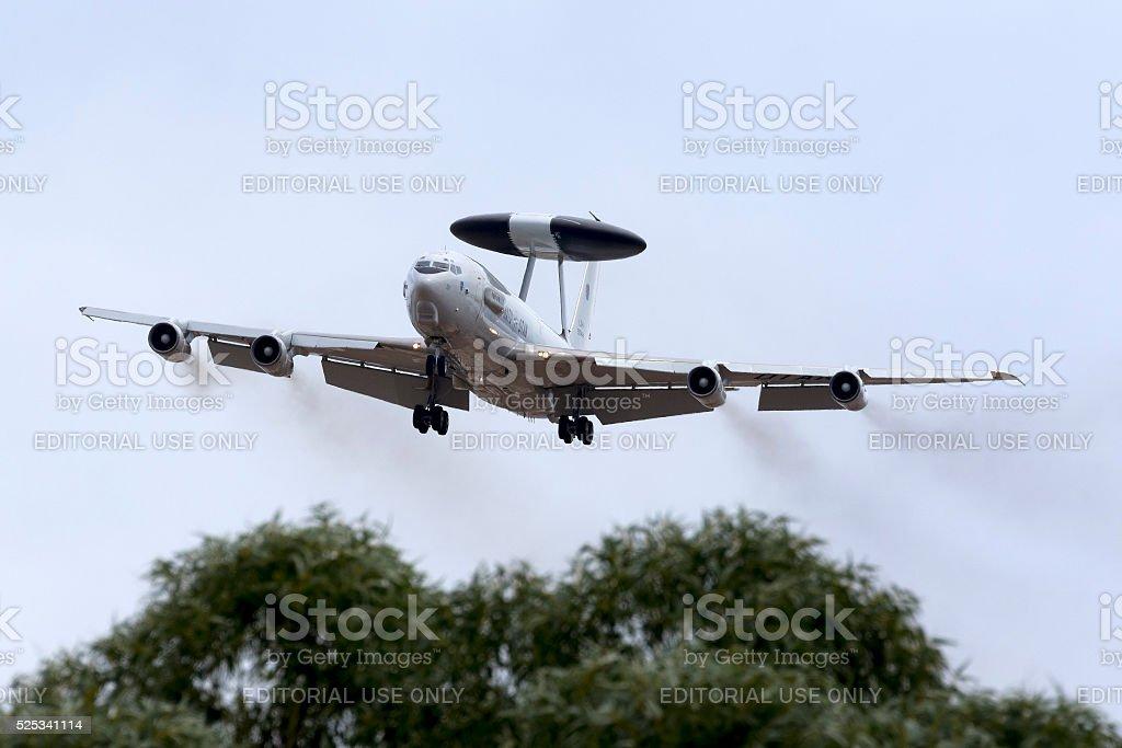 Luxembourg (NATO) AWACS landing stock photo