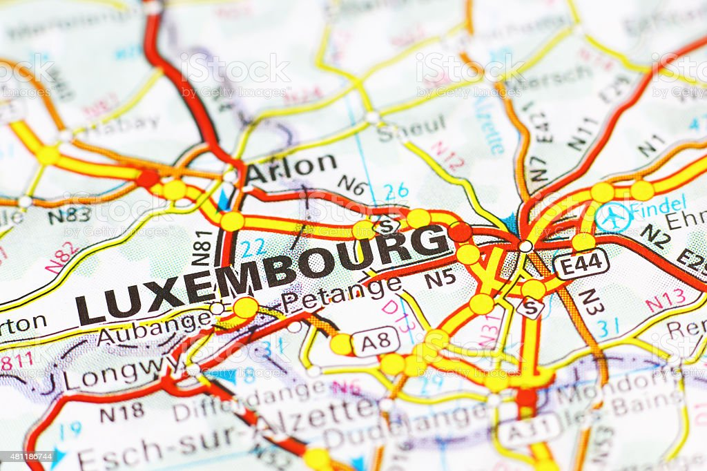 Luxembourg city area on a map stock photo